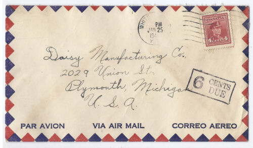 1945 Canada Airmail Cover - Whitehorse, Yukon to Plymouth, MI - Postage Due*