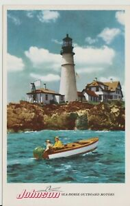 Vintage-Advertising-Postcard-034-Johnson-Sea-Horse-Outboard-Motors-034-Boating-Scene