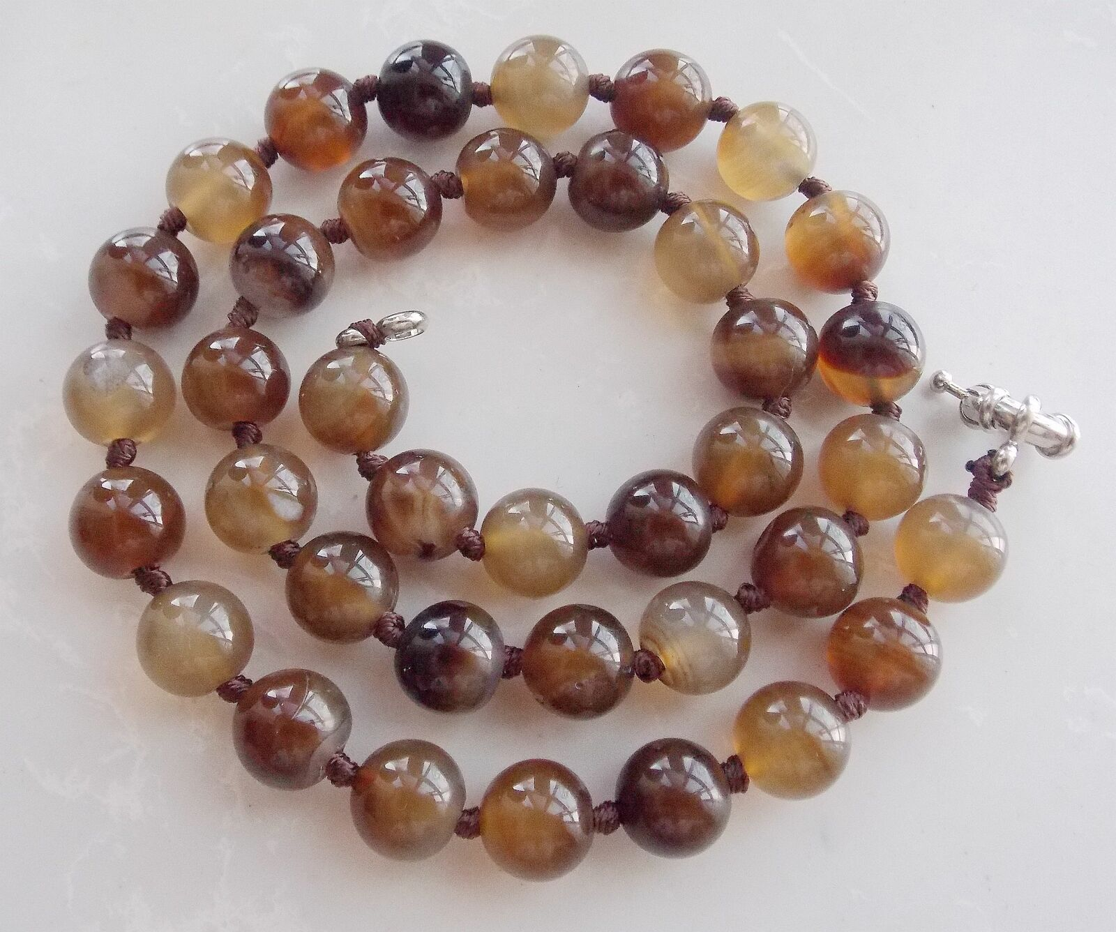 Fashion 10mm Round Natural Brown Agate Gemstone Beads Necklace 18.5'' AAA+