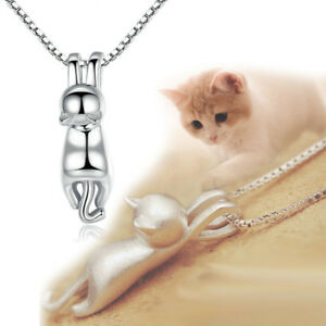 925Silver-Plated-Necklace-3D-Brushed-Running-Cat-Pendant-Lovely-Kitten-Jewelry