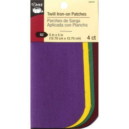 "Iron-On Twill Patches 5/""X5/"" 4//Pkg School Colors 072879283167"
