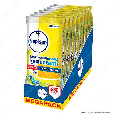 480 Napisan Salviette Sgrassanti e Igienizzanti Limone e Menta  - 8 x 60 Wipes