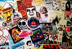 100-STREET-ART-GRAFFITI-STICKERS-OBEY-SPACE-INVADER-PACK-Sticker-Bomb