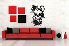 Wall Art Vinyl Sticker Decal Mural Design Skeleton With Rose Snake Tattoo #635