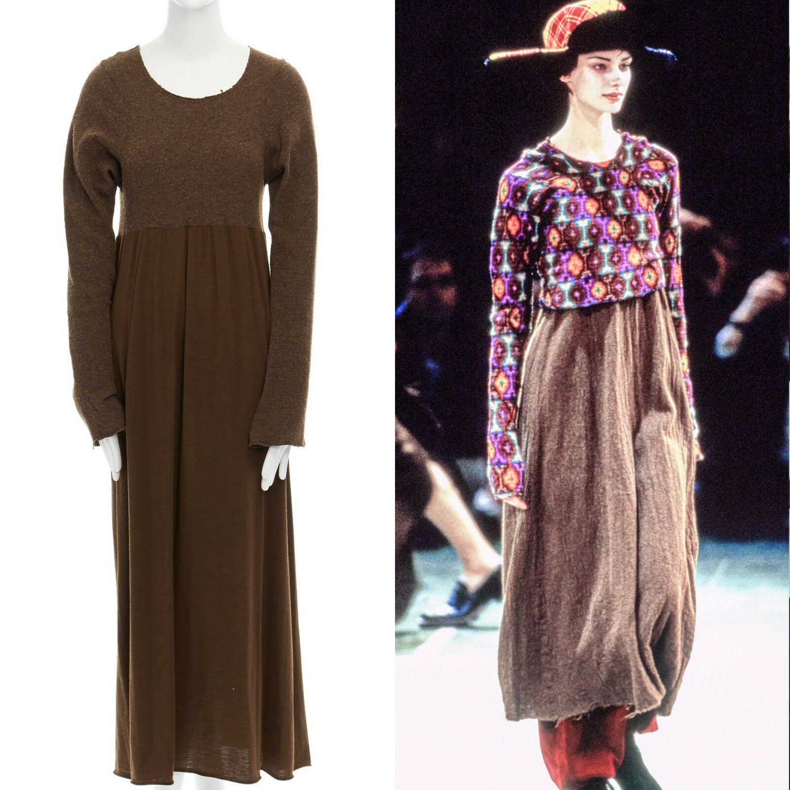 Runway COMME DES GARCONS Vintage AW1994 military boiled boiled boiled wool raw cut dress M 9c31e8