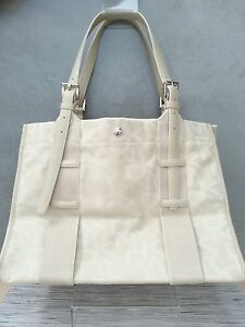 Dkny-Tote-Shopper-Bag-Handbag-Leather-and-canvas-New-Beige-Ivory-Cream-Tan