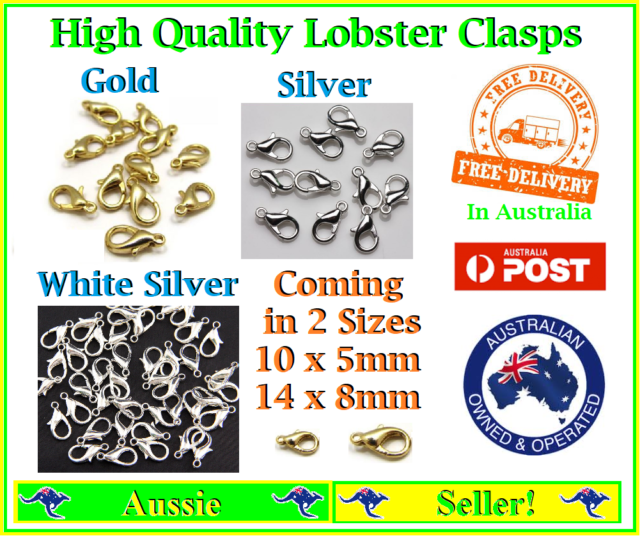 1/2/5/10/20/50 Plated Metal Lobster Clasps Clasp Closure 2 sizes Gold Silver