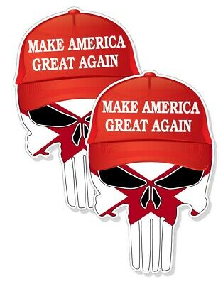 """5/"""" tall 2-pack TRUMP PUNISHER STICKERS  Alabama State Flag Pro Trump Decals"""