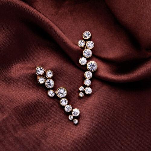 Boucles d`Oreilles CLIP ON Doré Grape Raisin Pavé  Mariage Retro B10