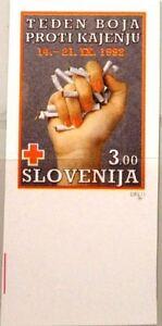 SLOVENIA SLOWENIEN 1992 Zz 3 U Postal Tax RA3 IMPERF Red Cross Stop Smolking MNH