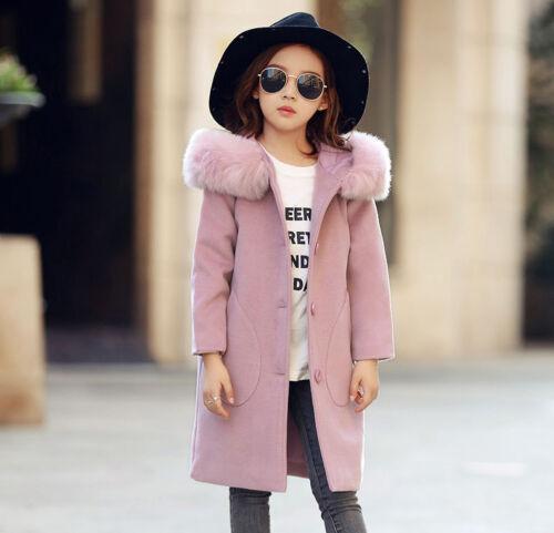 Kids Girls Coat Jacket Faux Fur Hooded Long Parka Winter Warm Coat