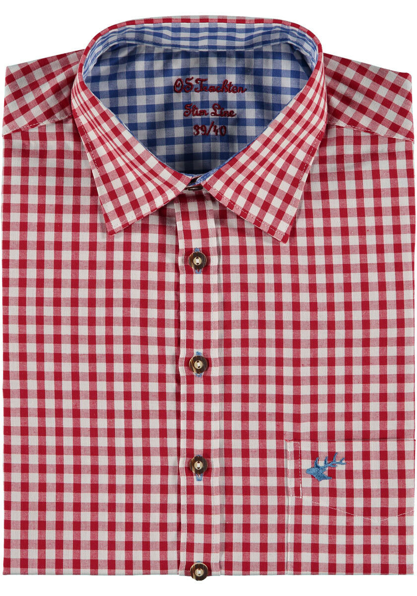 Traditional Shirt Red Checkered,With Blue Checked Deposed,Breast Pocket