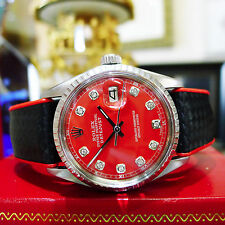 Mens Vintage ROLEX Oyster Perpetual Datejust Steel Red Diamond Dial Watch