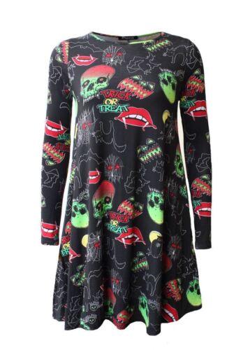 Nouveau femme femmes à manches longues halloween imprime swing halloween robe taille 8-26