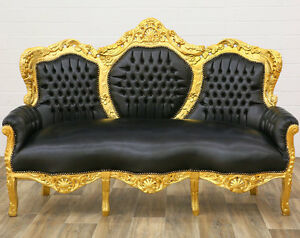canape baroque royal en bois dore cuir noir rococo rocailles style louis xv ebay. Black Bedroom Furniture Sets. Home Design Ideas