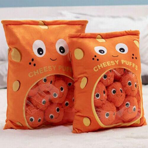 6//9pcs a Bag of Cheesy Puffs Toy Stuffed Throw Pillow Sofa Cushion Snack Pillow
