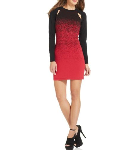 $148 French Connection OMBRE DUST Long Sleeve Jersey Sheath Dress Red//Black Sz 2