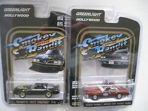 Smokey & BANDIT 1977 Pontiac LeMans shérif + Firebird Set ** Greenlight 1:64  </span>