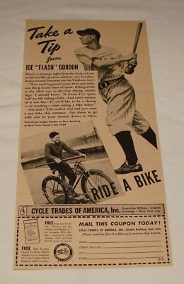 Baseball & Softball 1939 Fahrrad Trades Ad ~ Joe Flash Gordon ~ Ny Yankees Sport