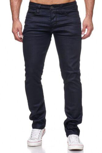 Hommes Jeans Pantalon pelliculés Noir Slim Fit Vintage Leo Gutti enduit