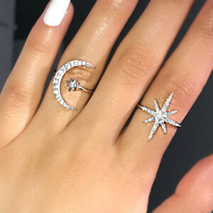 Fashion-Star-Moon-Shaped-925-Silver-Wedding-Rings-White-Sapphire-Ring-Size-6-10