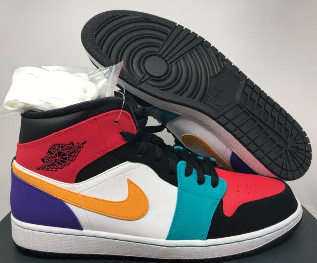 Nike Air Jordan 1 Mid White University Red Black Sz 15 554724 125