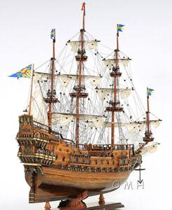 """Vasa 1628 Wasa Swedish Wooden Tall Ship Model 38"""" Sailboat Built Boat New"""