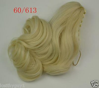 Ladies Queen synthetic hair medium curly blonde ponytail extension, claw clip