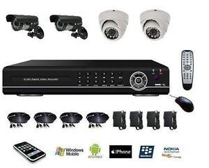 Kit-de-video-surveillance-enregistreur-numerique-DVR-IP-4ch-alarme-4-Cameras