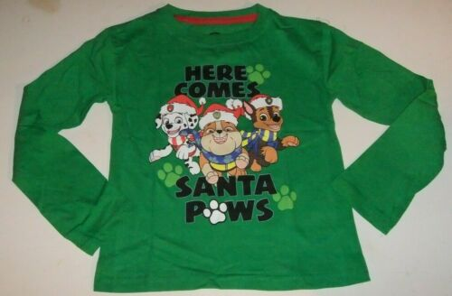 5T Shirt Long Sleeve HERE COME SANTA PAWS Green MARSHALL NWT Boys PAW PATROL 4T
