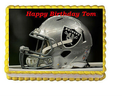 Astounding Oakland Raiders Birthday Party Edible Cake Topper 1 4 Icing Funny Birthday Cards Online Inifofree Goldxyz
