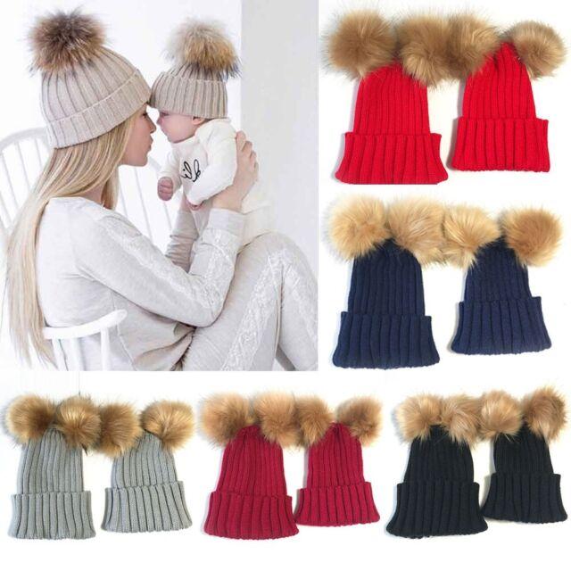 8080078e0 2PCS Mom+Child Kids Baby Warm Bobble Knit Hats Fur Pom Winter Crochet Ski  Cap UK