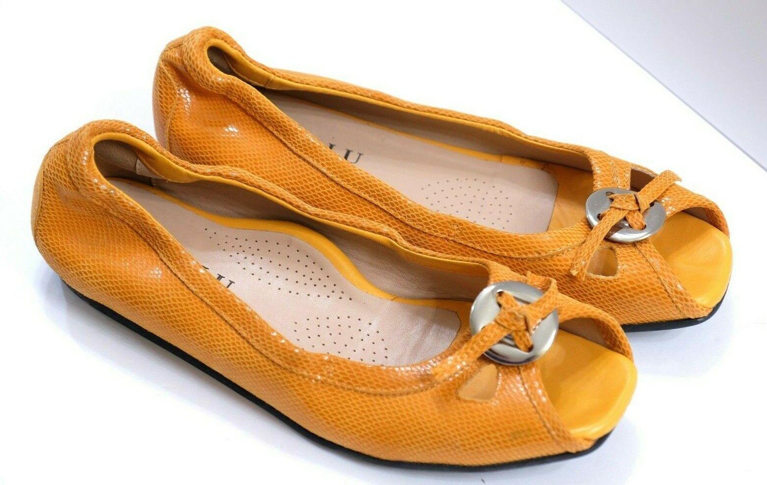 VGUC+ Anyi Lu Women's EU 38.5 US 7.5 orange Patent Leather Open Toe Slippers