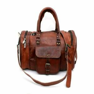 Bag-Leather-Travel-Duffle-Weekend-fabulous-Gym-Holdall-Luggage-Vintage-Genuine