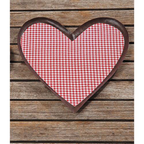 Plateau en métal coeur avec vichykaro-tissu rouge 28cm