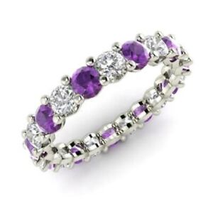2-54-Ct-Amethyst-Eternity-Wedding-Band-14K-Solid-White-Gold-Diamond-Ring-Size-N