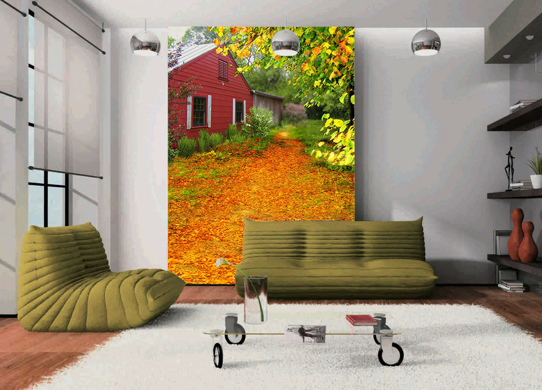 3D Golden Leaves Hut 7 Wall Paper Murals Wall Print Wall Wallpaper Mural AU Kyra