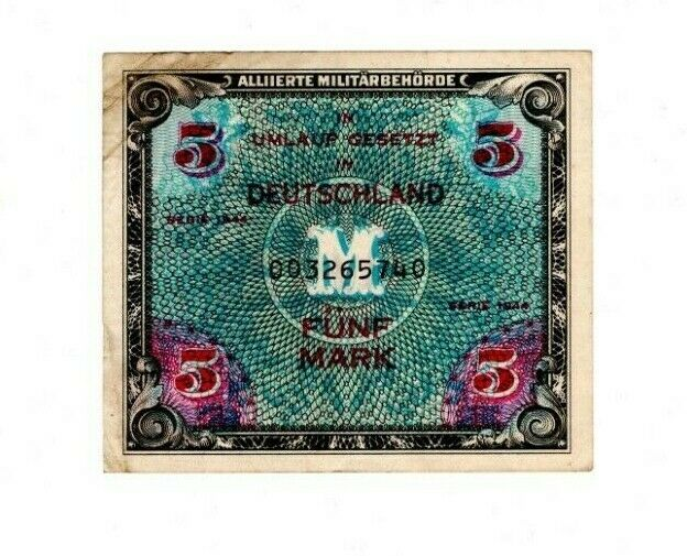 GERMANY - ALLIED OCCUPATION 5 Mark (1944) P-193 XF Banknote Paper Money