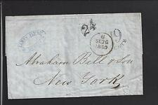 NEW YORK,NEW YORK 1850 INCOMING TRANSATLANTIC STAMPLESS FROM DUBLIN, IRELAND.