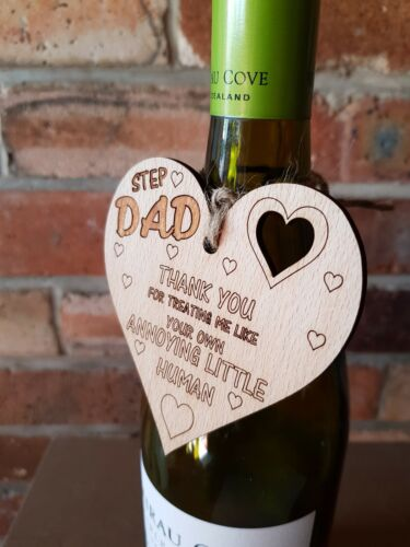 A34 Step Dad Fathers Day  Wood Heart Sign Present From Daughter Son  Dad Gift