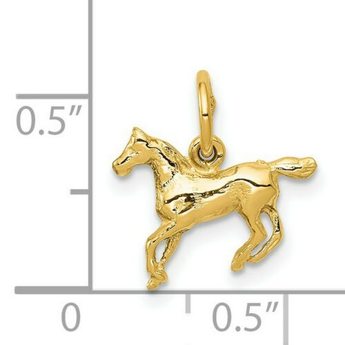 Details about  /14k Yellow Gold Polished Horse Charm Pendant 13 mm x 13 mm 0.57gr