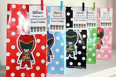 Personalised Power Rangers Dino Charge Birthday Party Loot Favour Paper Bags