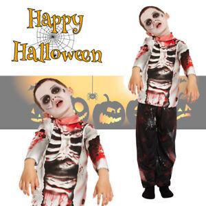 Boys-Deluxe-Child-Zombie-Halloween-Fancy-Dress-Kids-Costume-4-6-7-9-10-12-Yrs
