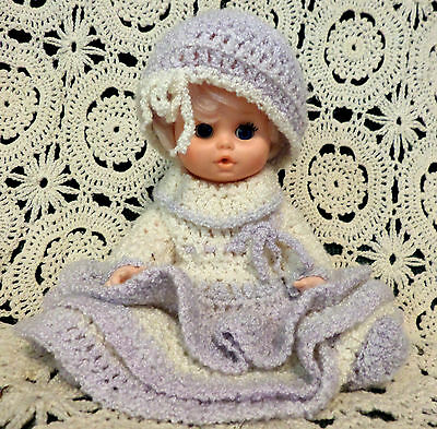 """Beautiful 10"""" Crocheted Purple Dress Hat and Booties Outfit on Eegee 10-5FL Doll"""