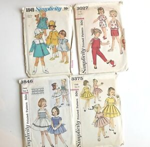 4-Girls-Clothing-Sewing-Patterns-Sz-3-Dresses-Play-clothes-Coats-Hats