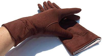 Guanti Donna Vintage Tessuto Cinque Dita Anni '60 Risvolto Nudo Marrone-rosso