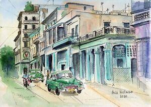 Cuba-Havana-original-watercolor-city-landscape-painting-town-old-rare-art