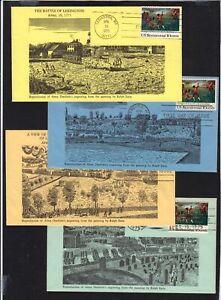1975-Lexinton-Concord-Sc-1563-set-of-4-Patriot-Covers-cachets