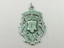 ANTIQUE STERLING SILVER FOB MEDALLION PENDANT 1896