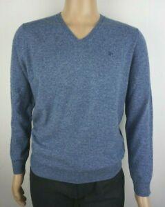 Men-039-s-Pura-Lana-de-cordero-V-Neck-Jumper-tallas-grandes-Sueter-Azul-Claro